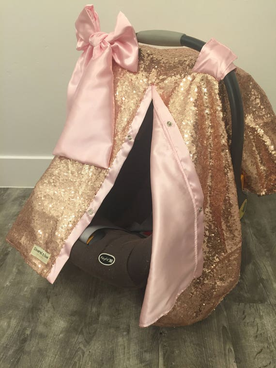 Rose Gold and Satin car seat canopy with bow  / carseat cover / carseat canopy /sequin / infant car seat cover / gold / sparkle