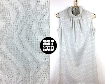 Cool Vintage 60s Mod Space Age Silver & White Psychedelic Op Art Zig Zag Pattern Sparkle Party Dress