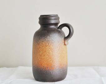 Fat Lava West German Scheurich (413-20) Ceramic Vase Jug with Handle Brown and Orange Vase German Pottery