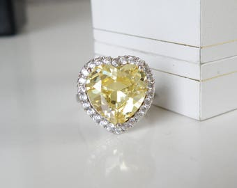 LARGE Sterling Silver 925 Simulated Yellow Diamond Heart Cut Cocktail Ring Size 9