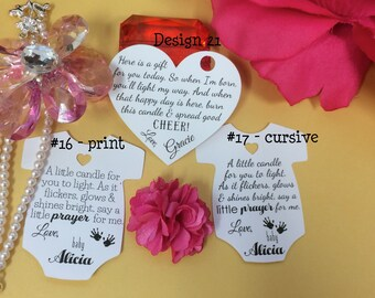 candle baby shower tags winter baby shower favor tags tea light baby shower tags candle tags
