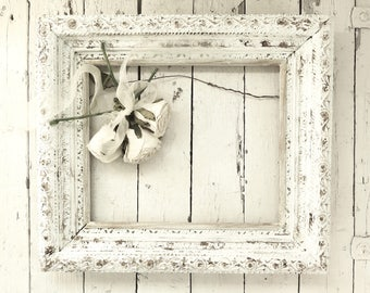 Antique White Frame, Weathered Frame, Old White Frame, Vintage Frame, White Picture Frame, Ornate Detail Frame, Cottage Chic, 10x12 Frame