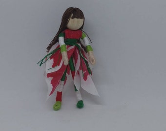Christmas Flower Fairy - Candy Cane stockings - Waldorf Flower Fairy Doll - Poinsettia Flower Fairy