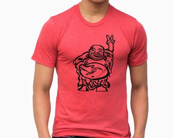 Hotei| Buddha| Soft Lightweight T shirt| Happy Lucky| Peace symbol| Men's Unisex| Father's day gift| Gift for him and her| Crew and Vneck.