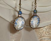 Tapestry owl pictorial relic vintage style earrings by Pamelia Designs