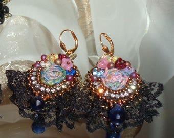 Silk sari rosette black lace bead embroidered earrings  Pamelia Designs Sacred Jewelry