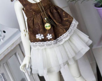Brown, mori style top for slim Mini Super Dollfie MNF Minifee Luts Soom Fairyland MSD