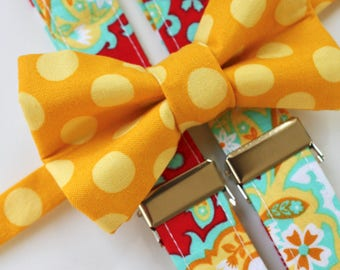 Little and Big Guy CARNIVAL Bow tie and Suspender SET - Yellow Dot Red Paisley -(Newborn-Adult)- Made to Order