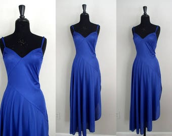 Vintage 1980's Undercover Wear Nightgown / 80's Cobalt Blue Satin Finish Nylon Negligee