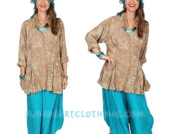 Sunheart Taos Ruffle Shirt Blouse SAND DUNE op Boho Hippie Chic Resort Wear Casual Womens Wear Sml-2x