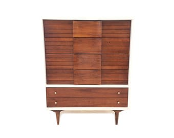 Vintage MCM Johnson Carper Dresser In White and Wood