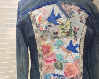 Upcycled Embellished Denim Jean Jacket with Hood, Birds Butterflies and Vintage Textiles