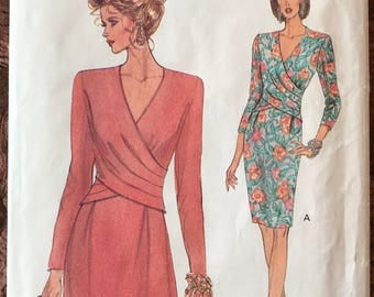 Vogue Pattern # 8414 - UNCUT - Surplice Wrap Bodice Dress w/ V-Neck - Flared or Slim Skirt, Three-Quarter or Long Sleeves - Sizes 18, 20, 22