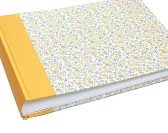 Heirloom Wedding Album, Large Photo Album with floral pattern in yellow pink and 100 white pages