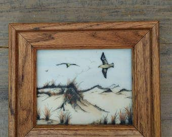"""Sweet CARLOS RIOS Vintage Oak Framed Tinted Engraving/Etching on Cultured Marble of Beach Dunes & Seagulls ~ Beach Cottage Decor ~ 7"""" x 6"""" ~"""