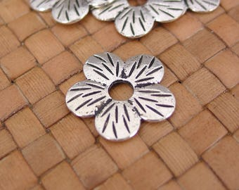 SALE:  4 Pcs Silver Plated Flower Beads (23 mm Diameter) - 50% Off