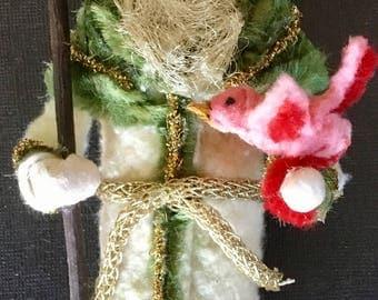 Cotton Batting Woodland Santa Vintage Look-Cotton Santa,Vintage German Scrap Face,Vintage Green Chenille,Angel Hair Tinsel,Batting Bird
