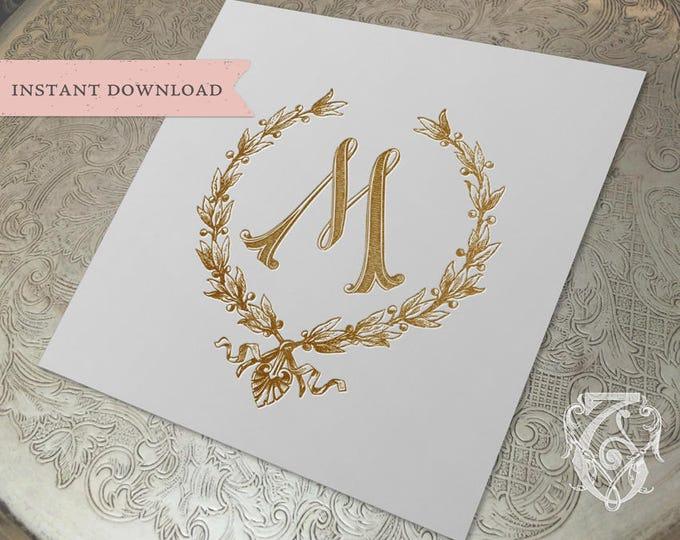 Vintage Wedding Initial M Laurel Wreath Crest Digital Download