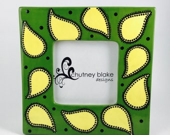 Green and Yellow Paisley - Hand Painted Ceramic Picture Frame
