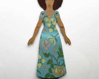 Black Paper Doll, Afro Hair Paper Doll, Natural Hair Paper Doll, Melanin Queen, African American Paper Doll, Jointed Paper Doll, Melanin