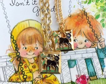Twins Bracelet and necklace set, Emmons set, Bambi Necklace, Deer Bracelet, Vintage Demi, Enameled deer, Girls, Gift For Twins, #G106