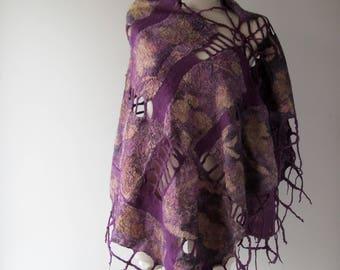 Felted scarf,  Purple pink felt scarf,  purple scarf plant print  scarf, pink  wool scarf women felt shawl by Galafilc