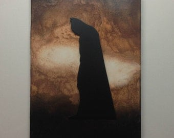 Batman. The Dark Knight, Raised Silhouette Melted Crayon Art Painting