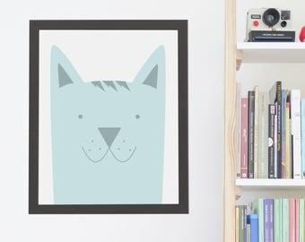 Nursery Animal Print, Dog Wall Art, Kids Room Poster, Printable Kids Gift, Printable Artwork, Instant Digital Download, Cute Pastel Blue Dog