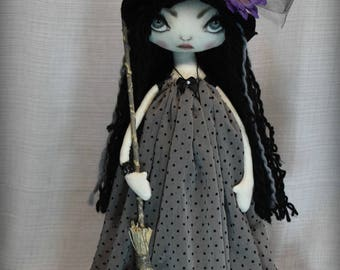 Witch MATILDA Broom Textile Art OOak Halloween Decor Big eye lowbrow Gothic Art doll handmade collectable home decor tattered