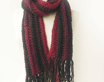 Red and Black Wool  Scarf - Crochet Scarves - Striped Knit Scarf with Fringe