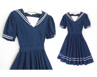Vintage Sailor Dress * Nautical Dress * 70s Mini Dress * XS - Small
