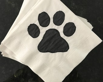 Dog Paw Print Paper Cocktail/ Luncheon/ Dinner Napkins - White and Black