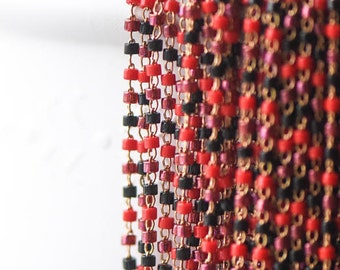 TOHO Seed Glass Bead Chain 1.8mm, Unplated Brass Beaded Tiny Chain, Multi Colors Mix  (#RB-052-3)/ 1 Meter=3.3ft