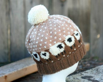 Sheep Hat in Brown and Tan Hand Knit Wool