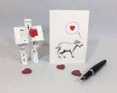 Goat valentine card. Goat love card for anniversary, wedding, new baby. Cute funny goat card for all loving occasions. Blank inside.