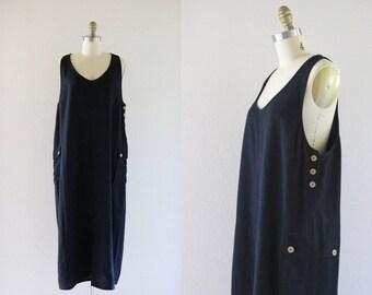 black linen jumper dress / l