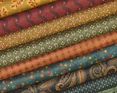 """WEEKLY SPECIAL and Free Shipping! Katie's Cupboard Bundle of 8 Quarter Yard Cuts (9"""" x 42""""), Cotton Quilt Fabric Bundle on Sale, Kim Diehl"""