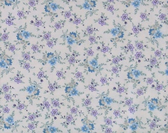 Purple & Teal Small Floral on a Soft White Background Cotton Quilt Fabric, Shabby Chic, Twilight Garden Collection, HEG8874-44, Aqua