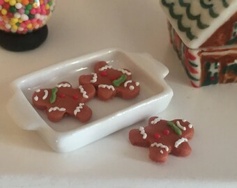 Miniature Gingerbread Cookies, Gingerbread Man With Frosting, Set of 3, Dollhouse Miniature, 1:12 Scale, Holiday Decor, Mini Food