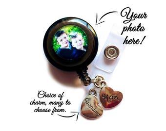 Photo Retractable Badge Holder / Photo Badge Holder / ID Badge Reel / Personalized ID Reel / Custom Photo Badge Holder / Personalized Gift