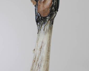 Smokey quartz Citrine malachite Crystal antelope Deer Antler magic Wand alter tools ceremonial druid wiccan spell casting  Darlene Musser