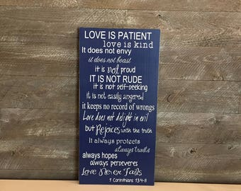 Love is Patient Love is Kind 1 Corinthians 13:4-8 Custom Wood Sign ~ Wedding Aisle Signs~ Wedding Sign ~ 1 Corinthians 13 Wood Sign