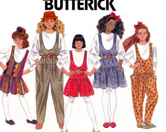 Butterick 5081 Teen Girls Drop Waist Jumper T Shirt & Jumpsuit 90s Sewing Pattern Size 12 14