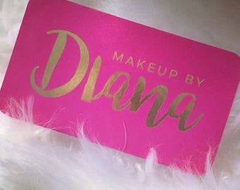 Gold Foil Business Cards with Silk Laminate - Makeup Artist - Lipstick - Lips - Pink and Gold - Beauty Vlogger - Hairstylist - Eyebrows