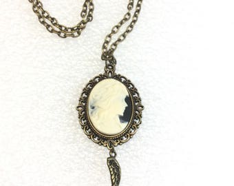 Black Vintage Style Cameo Necklace with Wing