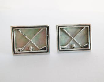 Swank Men Vintage Jewelry Cuff Links Set Golf Ball Golfing Club Mother of Pearl MOP Silver With Pearlized Center For Him Dad wvluckygirl