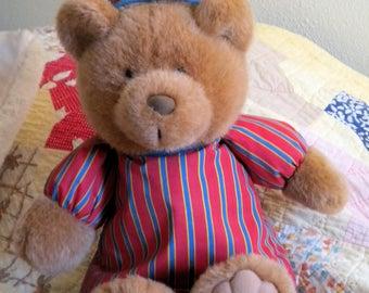 Vintage Teddy Bear Avon Sleepy Sherman Musical Dream With Me in Striped Pajamas