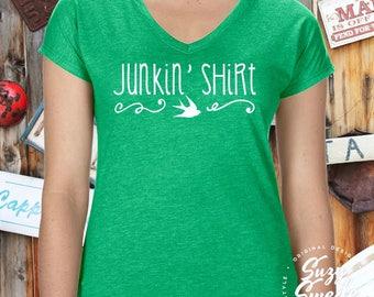 Junkin' Shirt Ladies' Triblend V-Neck T-Shirt- funky junk, pickers, thrifting, junk queen, flea market shirt, junk gypsy ladies v-neck