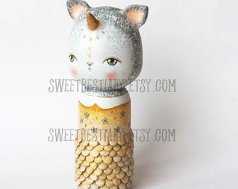 Cat unicorn mermaid kokeshi OOAK altered wooden doll