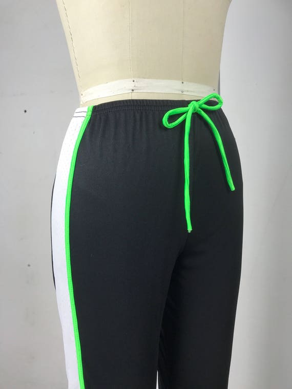 90s Flare Neon Black and White Track Pants